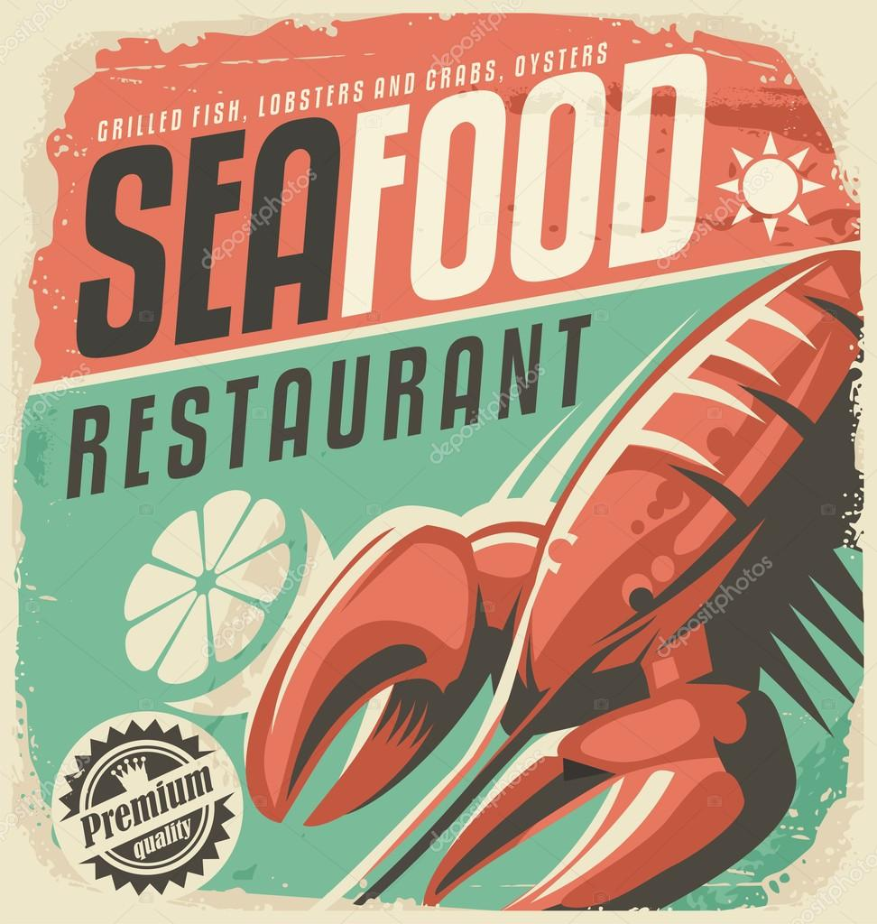 Retro seafood restaurant poster with lobster — Stock Vector ...