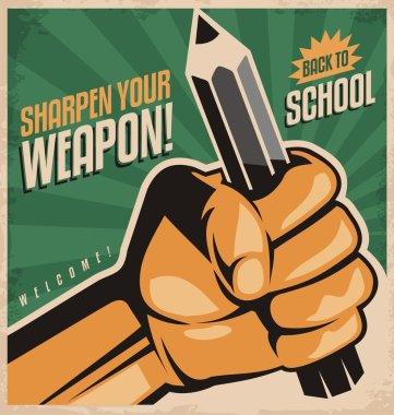 Retro school poster design concept