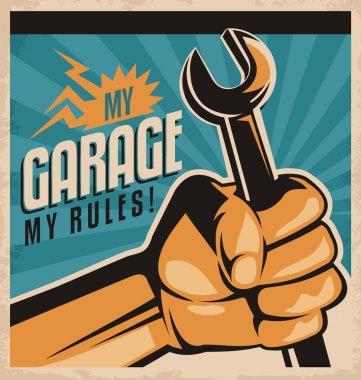 Retro poster design for auto mechanic