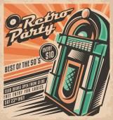 Retro party meghívó tervező