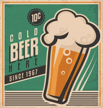 Vintage poster template for cold beer. Retro beer vector poster. Vector old paper texture food and drink background concept. Retro label or banner design. No gradients and effects, just fill colors. stock vector