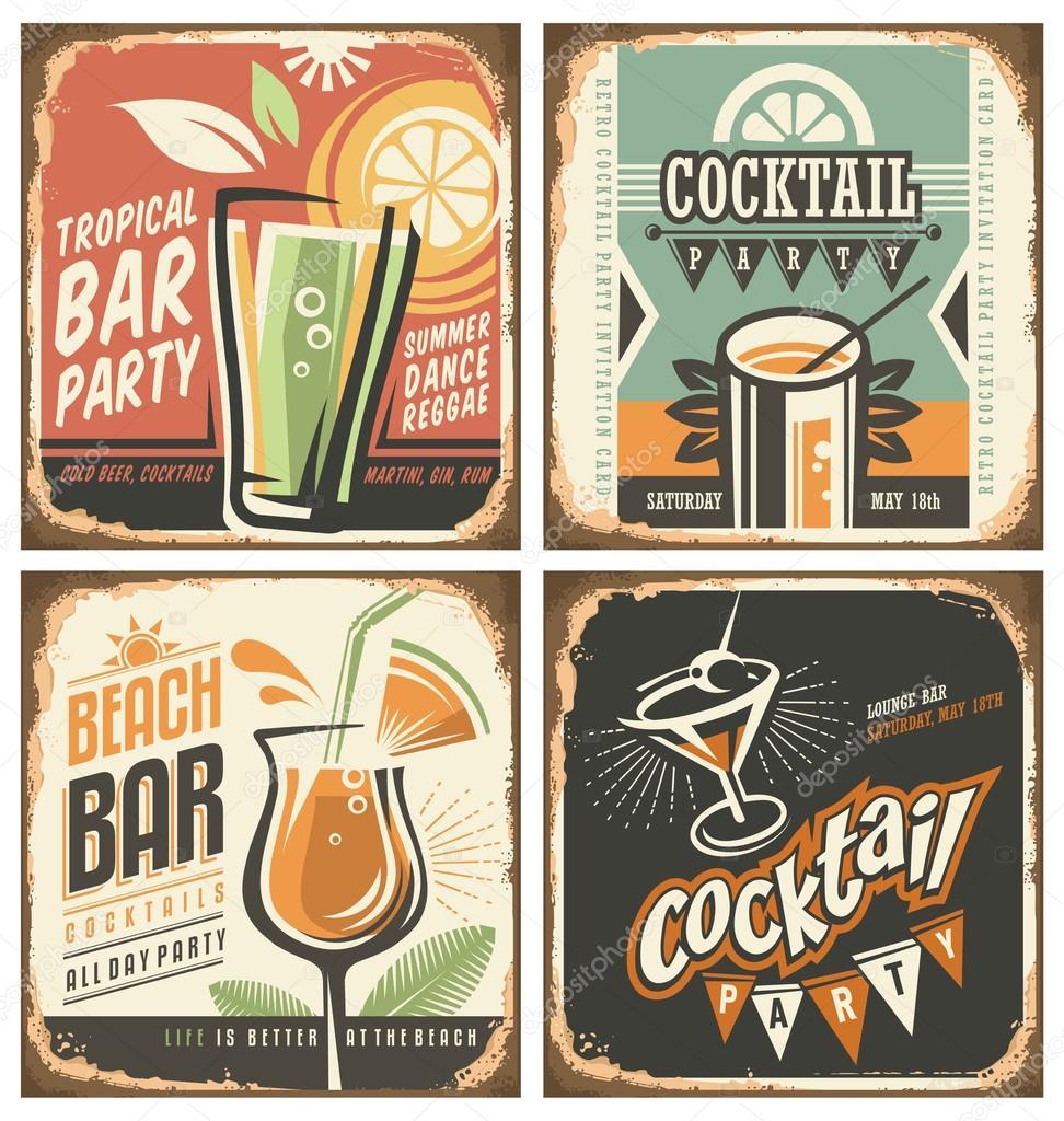 Cocktailbar retro tin ondertekenen set — Stockvector ...