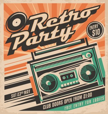 Retro party vector poster design concept.