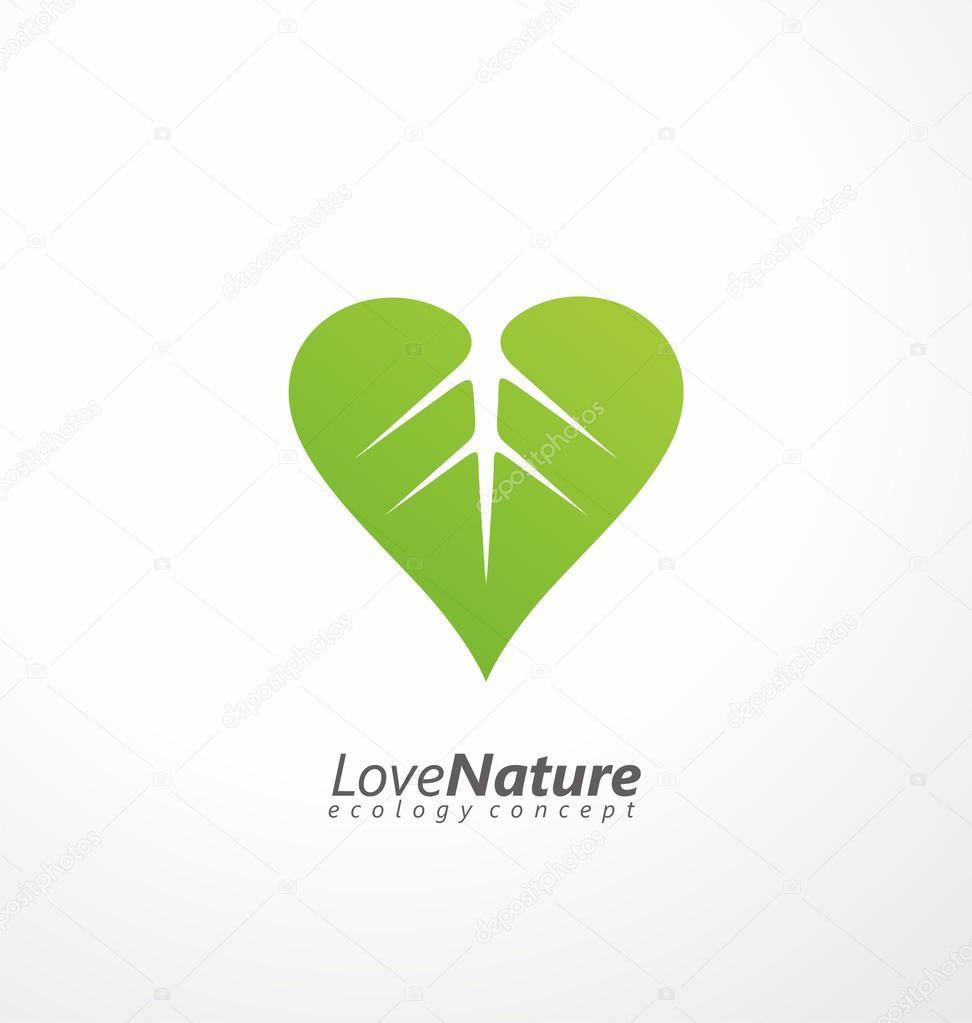 Love nature creative logo design template