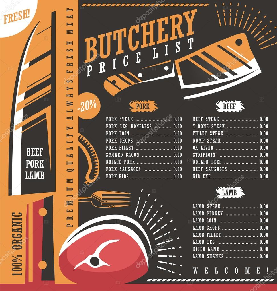 Butcher Shop Price List Vector Design Stock Illustration