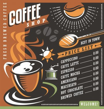 Coffee house menu creative template. Cafe price list with cup of coffee and coffee beans.