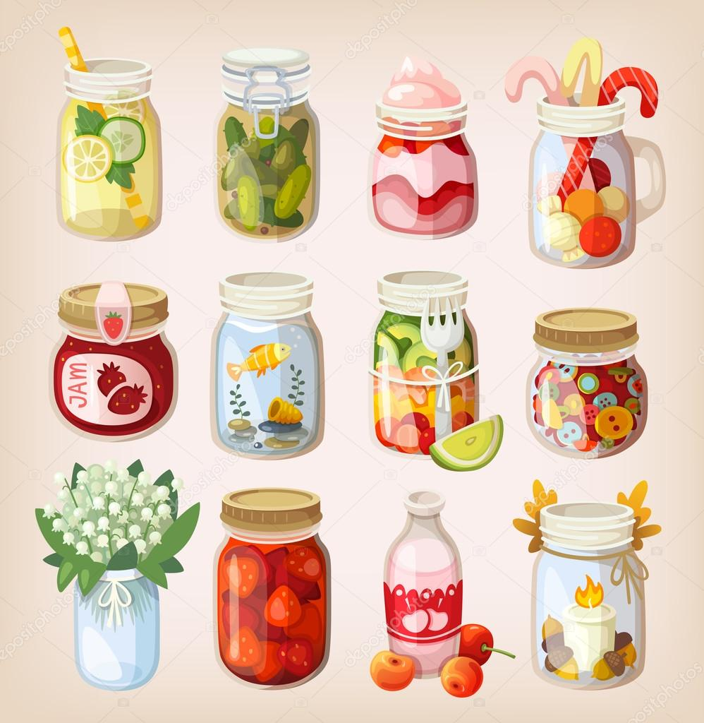Mason jars with things