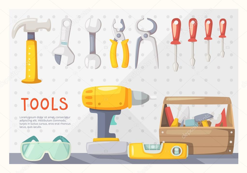 Colorful Poster With Carpenters Tools On Garage Wall Vector By Moonkin