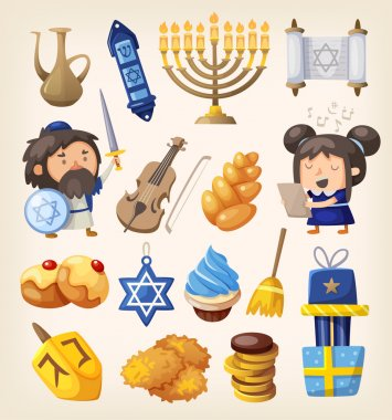 Hanukkah food and decoration elements