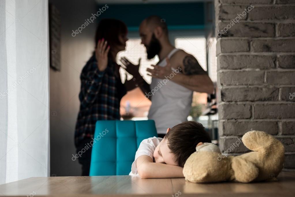 Little boy during parents quarrel