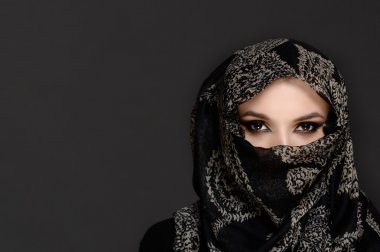 Beautiful Woman in Middle Eastern Niqab veil