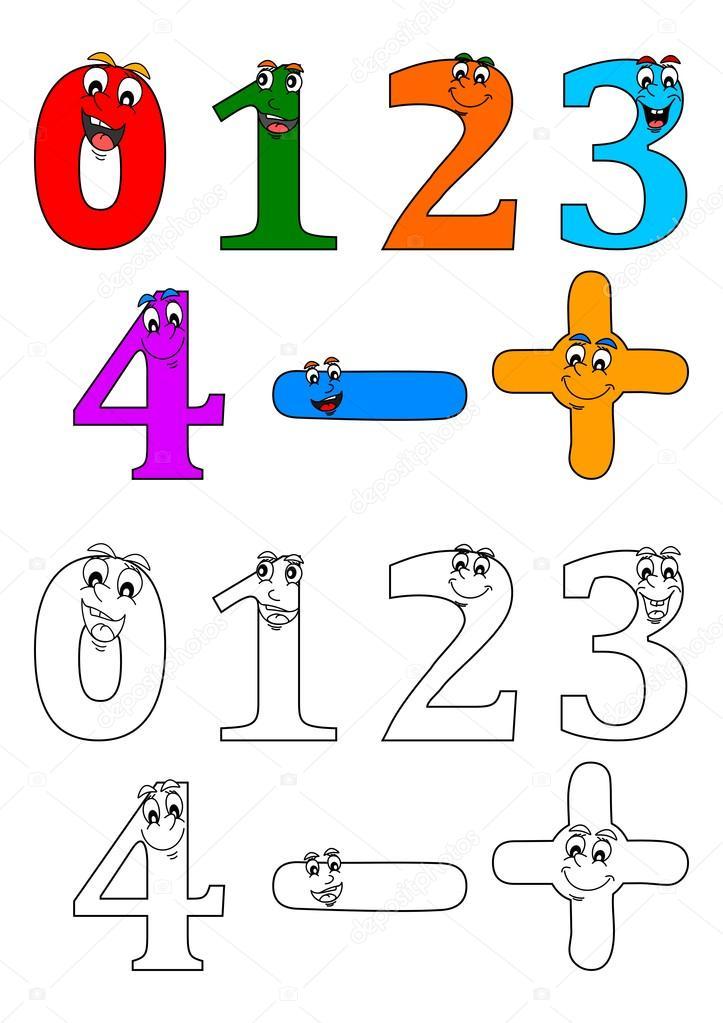 Sonriendo números como libros para colorear para niños pequeños ...