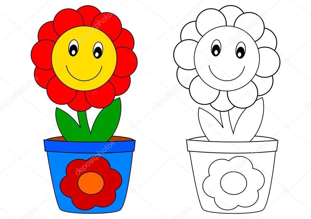 Flor roja en pote azul - libro para colorear — Foto de stock ...
