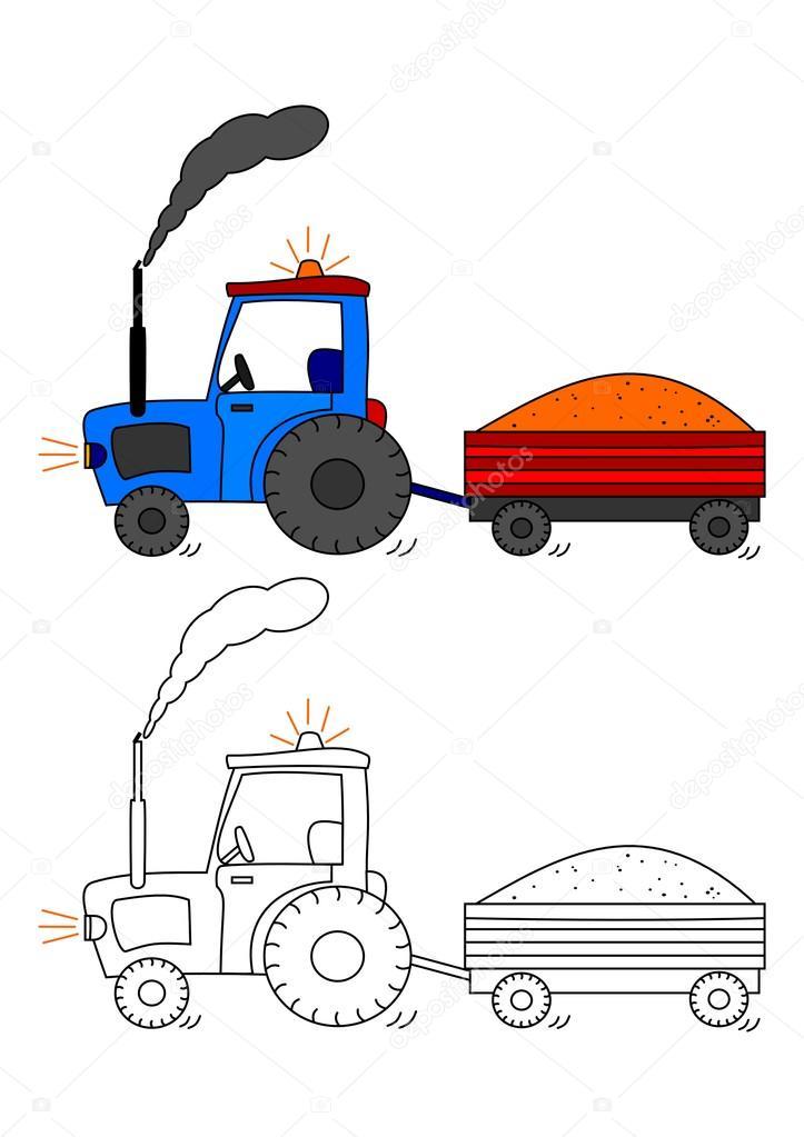 Traktor S Vleckou Omalovanky Pro Deti Stock Fotografie C Petr73