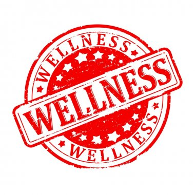 Scratched round red stamped - wellness