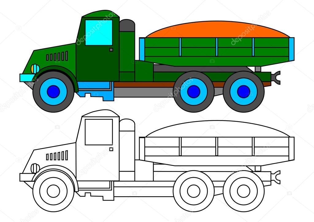 Grüne LKW als Malbuch für Kinder - Abbildung — Stockfoto © petr73 ...