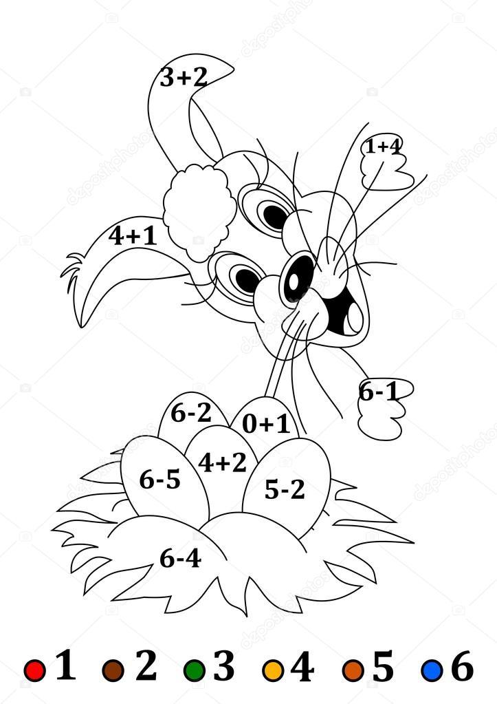 Contar para niños pequeños con una liebre de Pascua - ilustración ...