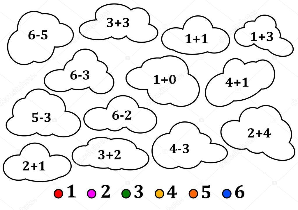 Nubes Coloridas Como El Conteo Para Niños Libro Para Colorear