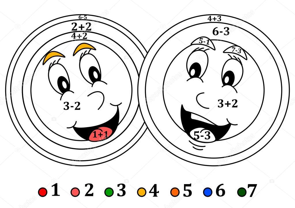 Colorear, contar para niños pequeños - sonrientes cabezas color ...