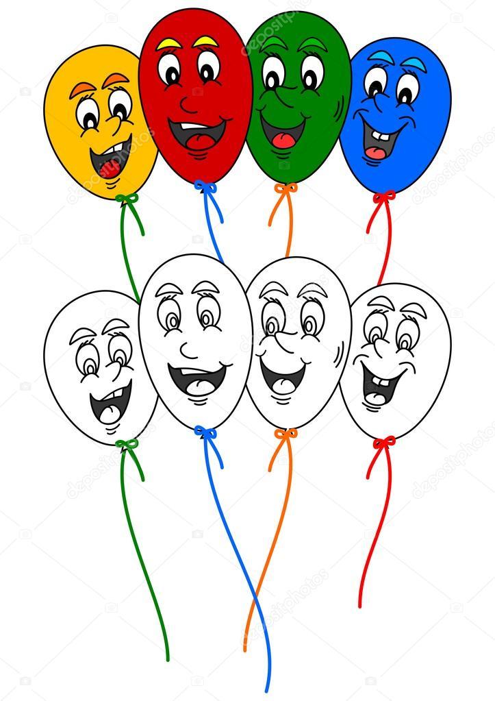 Libro da colorare per i bambini piccoli con palloncini - Immagine con palloncini ...