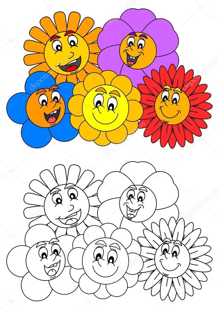 Sorridente Di Fiori Variopinti Come Libri Da Colorare Per I Bambini