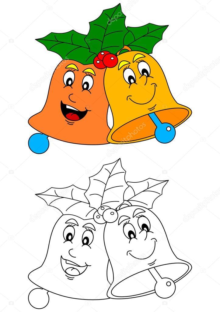 Dos campanas sonrientes coloridas como libros para colorear para ...
