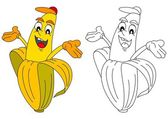 Cheerful yellow banana like a coloring book for young children