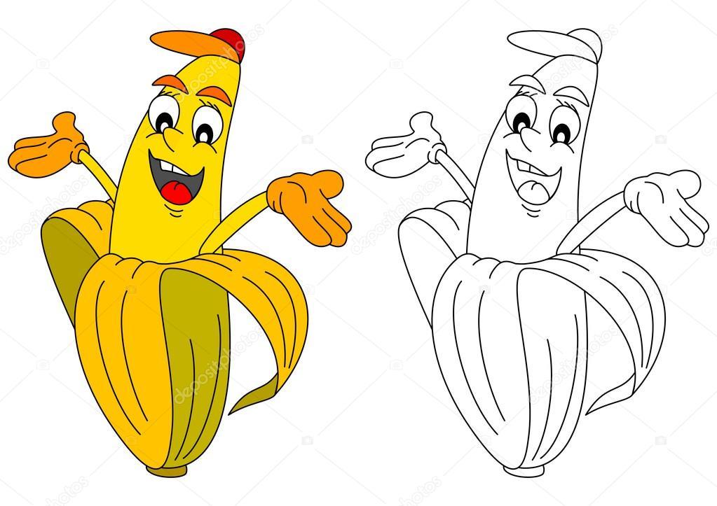 Banana amarilla alegre como un libro para colorear para niños — Foto ...