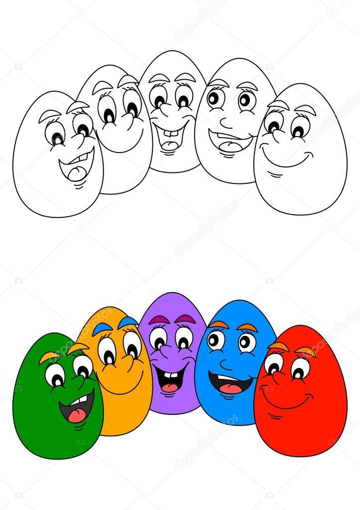Huevos de Pascua colores alegres como un libro para colorear para ...