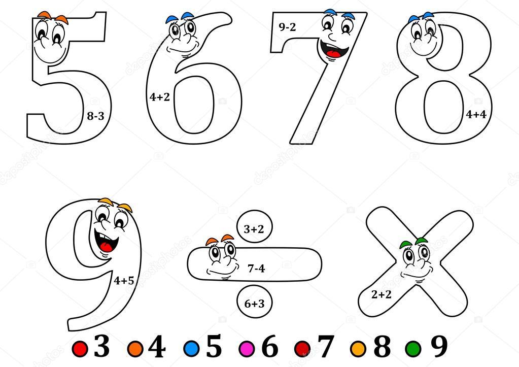 Uśmiechający Się Numery Do Kolorowania Jak Liczenie Dla Dzieci