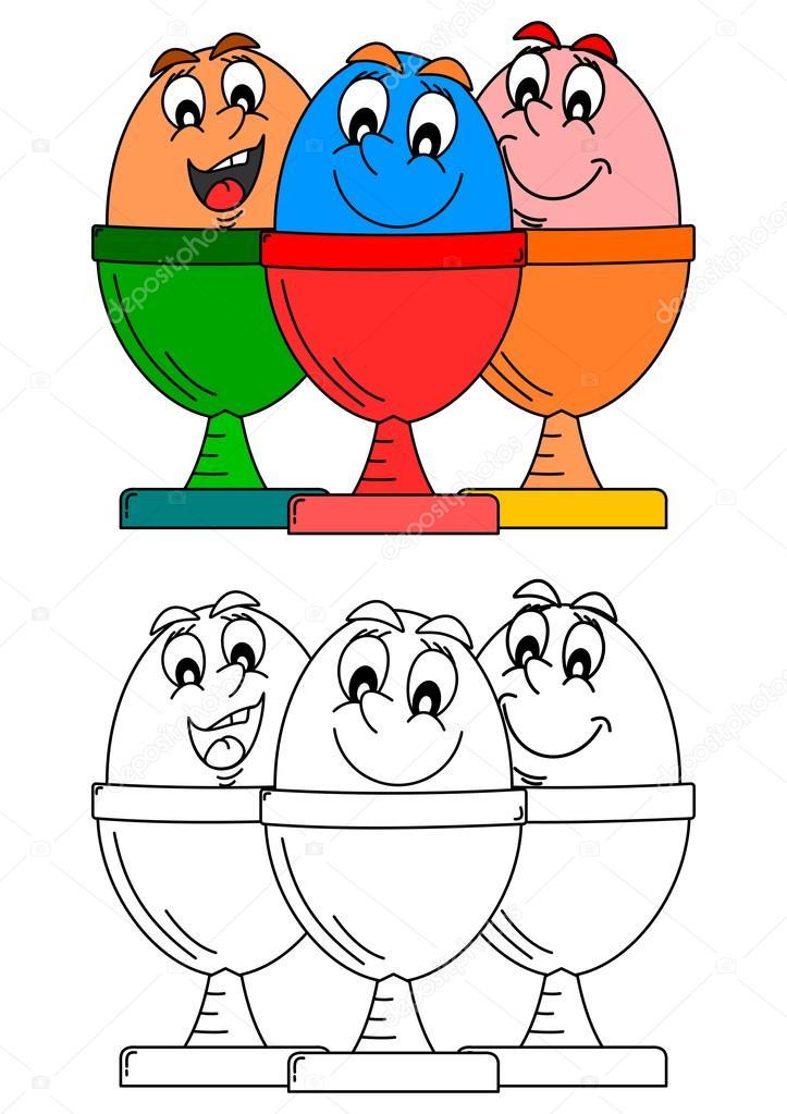 Sonriendo los huevos en platos como libros para colorear para niños ...