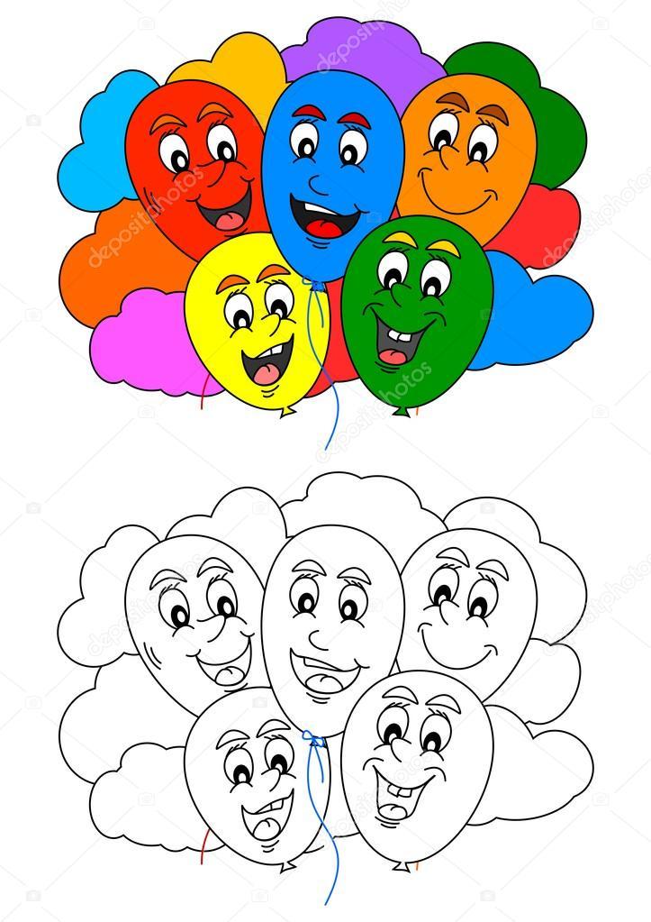 Boyama Kitabı Ile Eğlenceli Küçük çocuklar Için Renkli Balonlar Ve
