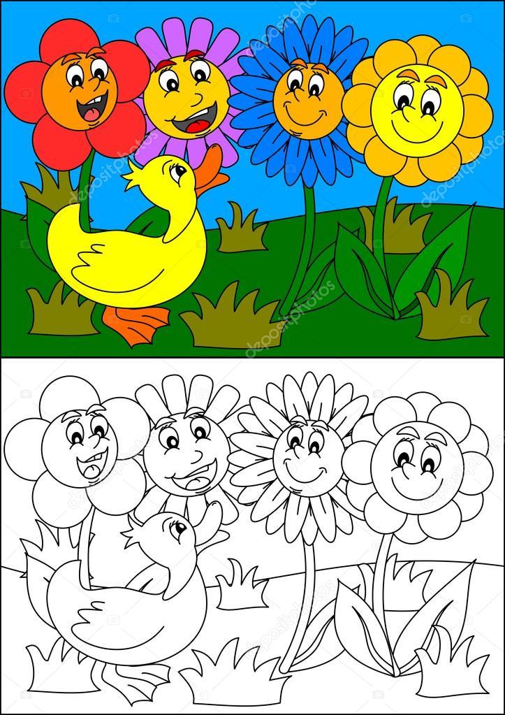Sonriendo de coloridas flores y pato, como libros para colorear para ...
