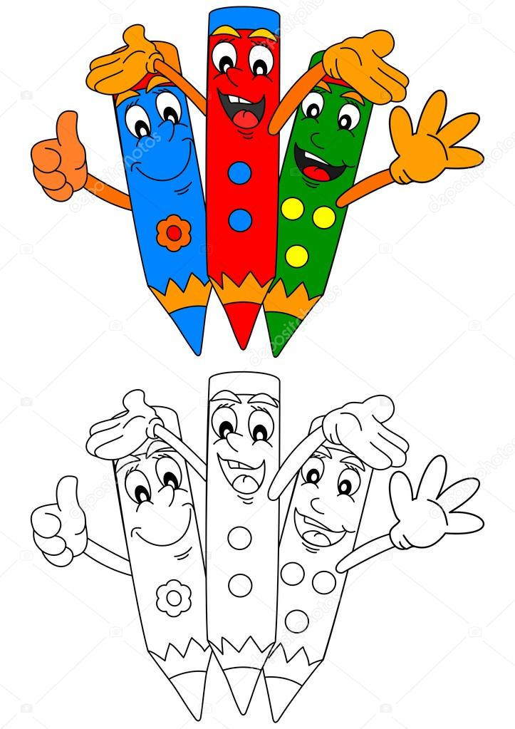 Tres lápices de colores sonriendo como libros para colorear para ...