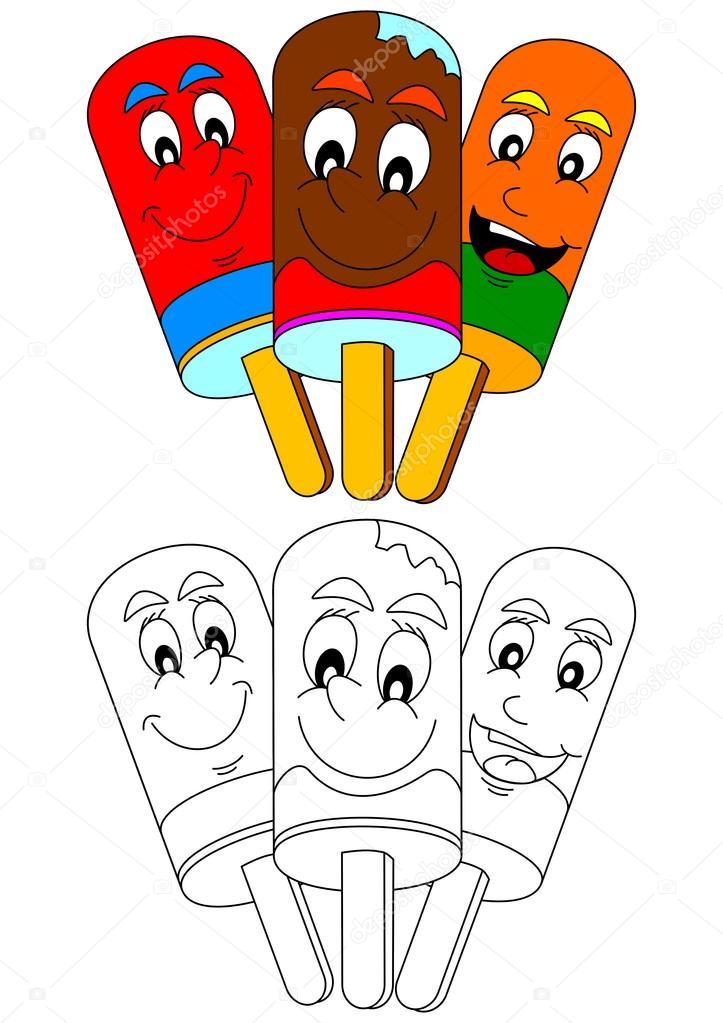 Farbige lächelnd am Stiel als eine Färbung für kleine Kinder ...