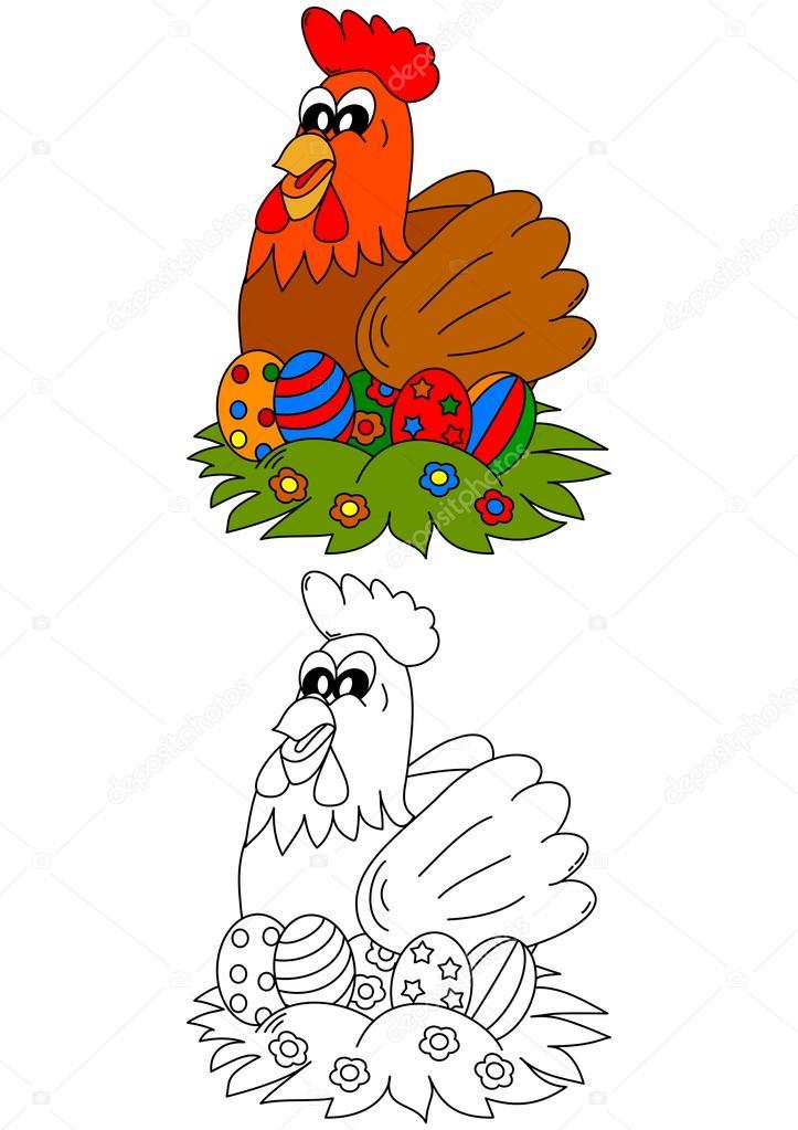 Gallinas con huevos de Pascua colores como un colorante para los ...