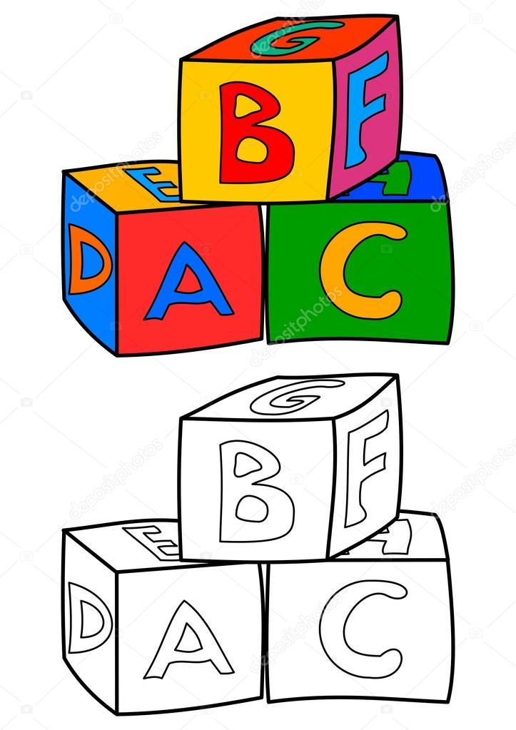 Cubos de colores con letras como libros para colorear para niños ...