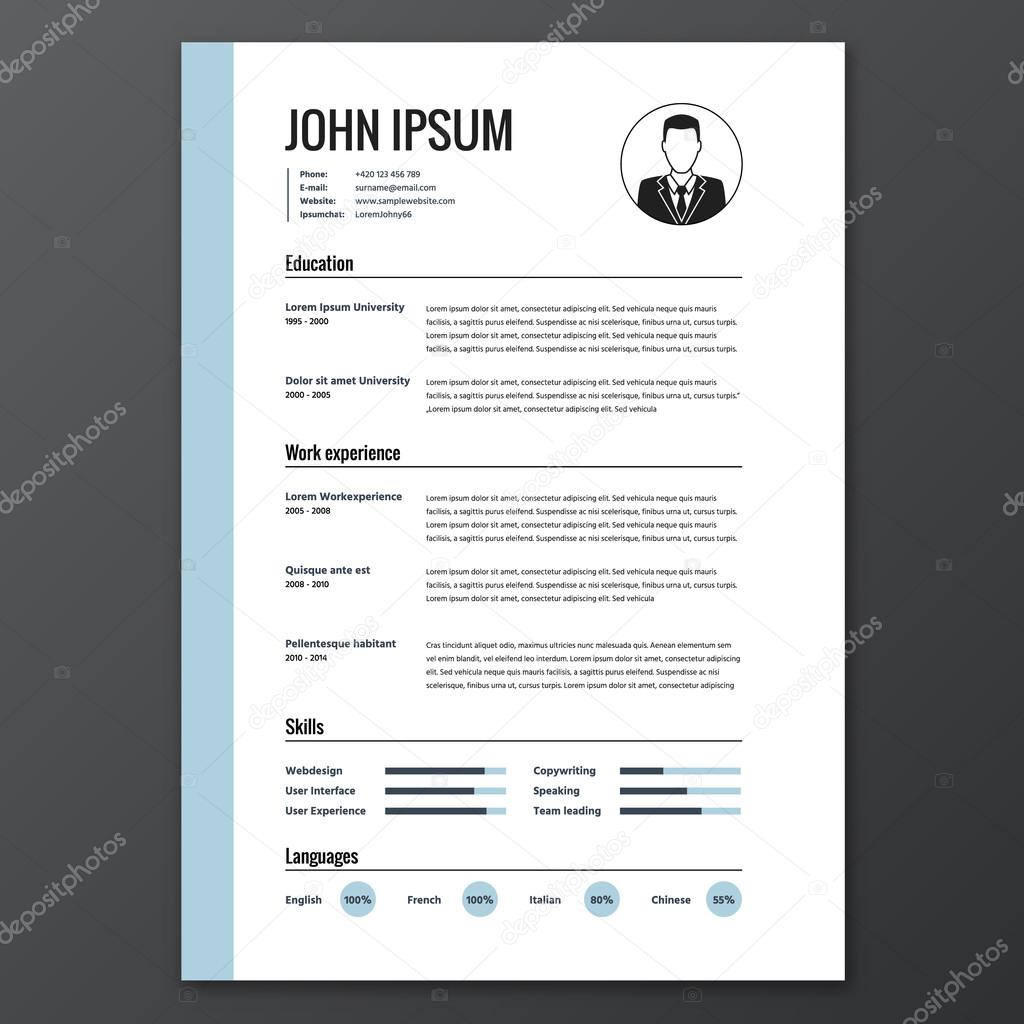 CV, Resume Template, Vector Graphic Layout U2014 Vector By Hollygraphic