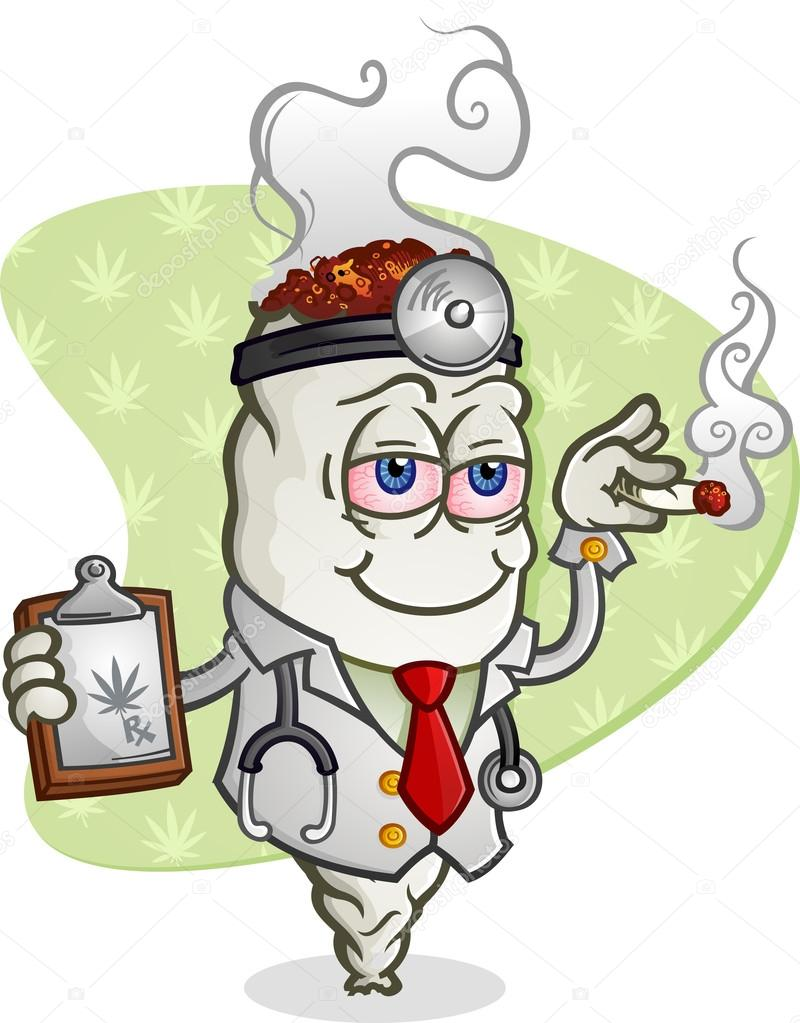 Cartoon Characters Smoking Weed : Medical marijuana doctor cartoon character — stock vector