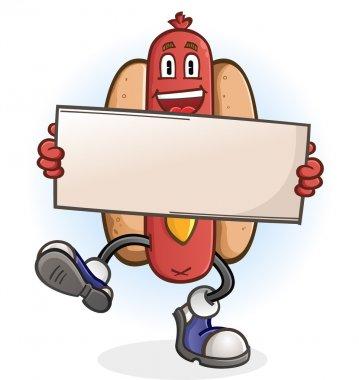 Hot Dog Cartoon Character Holding a Sign