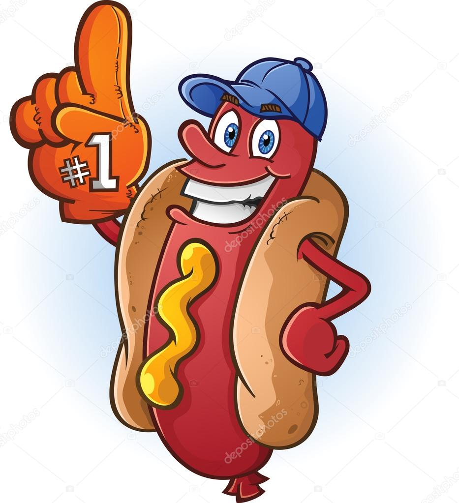 sports fan clipart. a hot dog sports fan with big orange foam finger \u2014 vector by aoshlick clipart