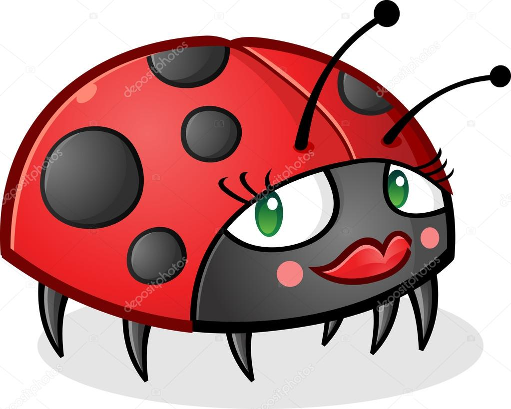 9269e0a090 A cute little ladybug cartoon character wearing lipstick, blush and mascara  — Vetor de ...