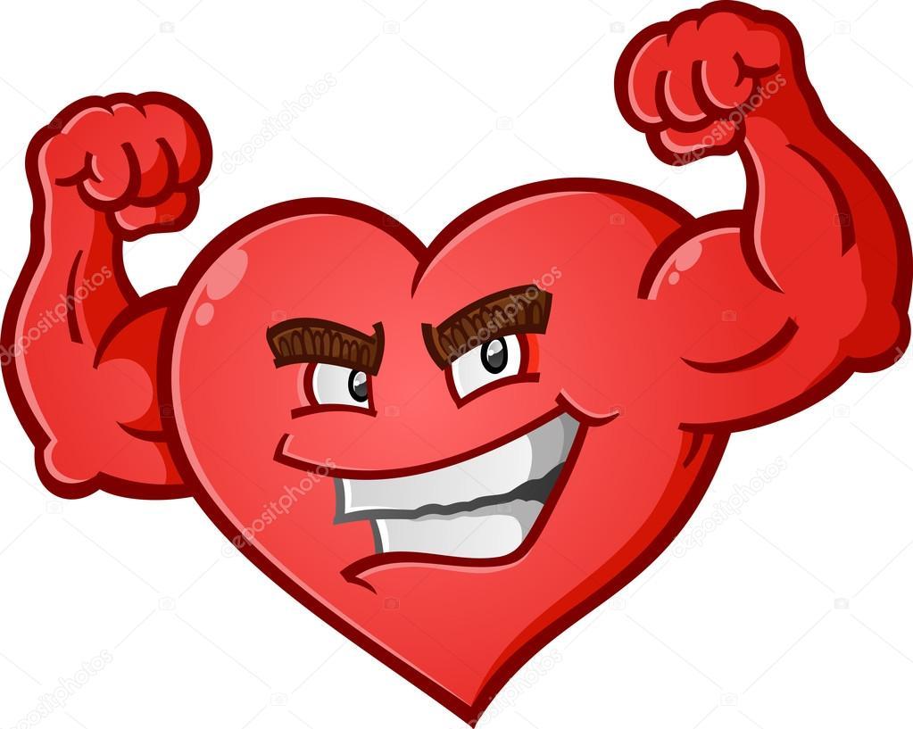 Personaje de dibujos animados de flexión los músculos del corazón ...