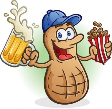 Peanut Cartoon Character Character Drinking Beer