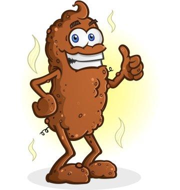 Poop Cartoon Character Standing Thumbs Up