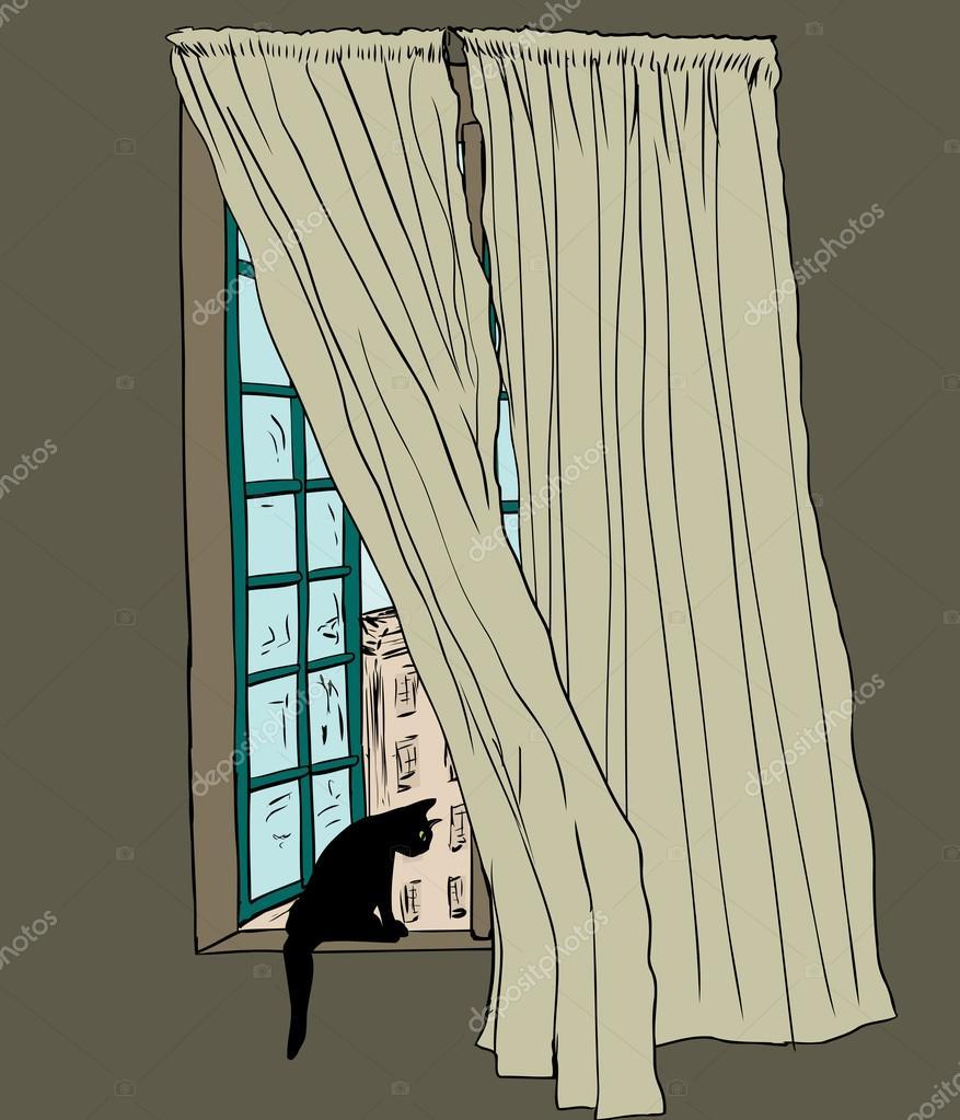 Kat in Stockholm venster met het blazen van gordijnen — Stockvector ...