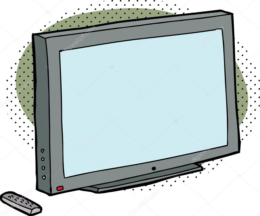 Blanc tv avec t l commande image vectorielle - Dessin television ...