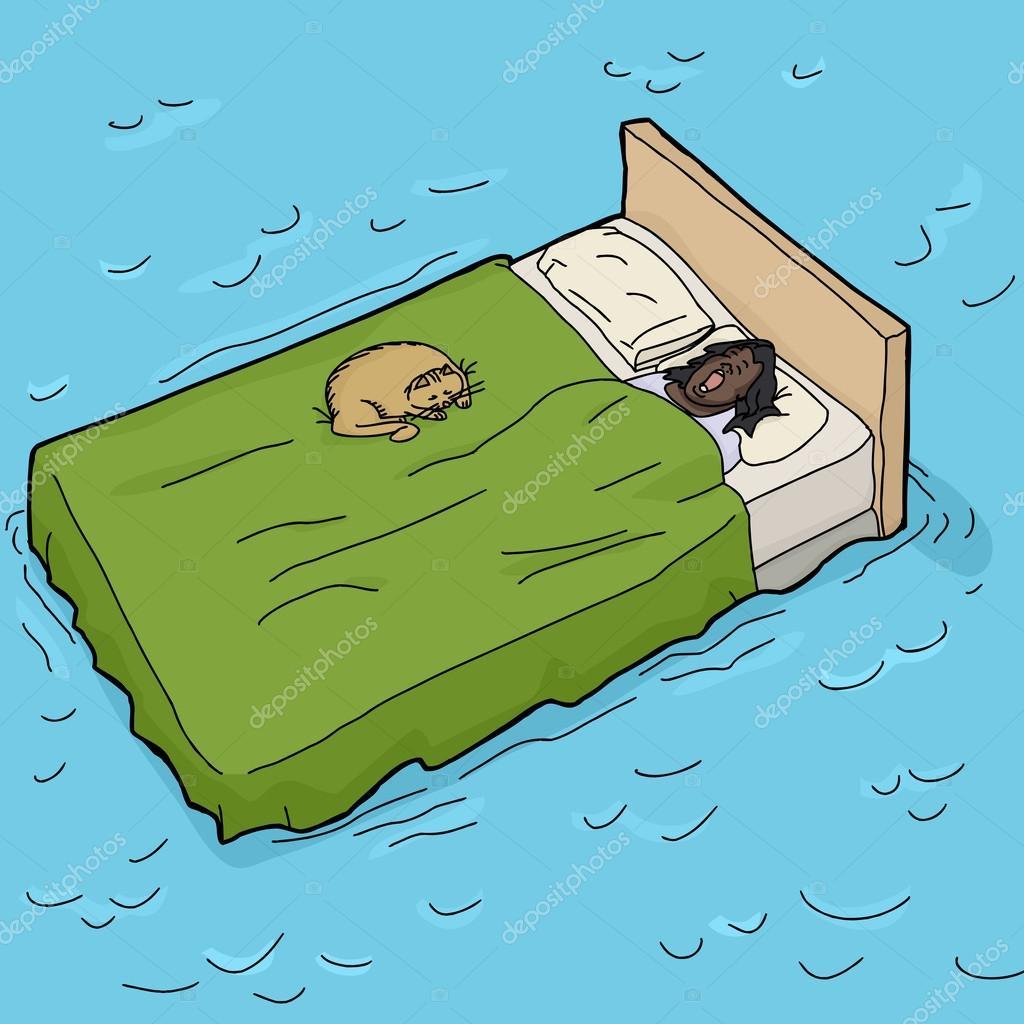 Mujer y el gato dormido en cama de agua vector de stock theblackrhino 62305901 - Cama de agua precio ...