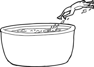 Outline Drawing of Frog Jumping Out of Pot