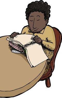 Isolated Child Reading Books
